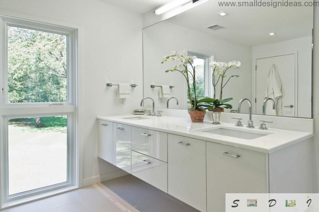 Living plants, two sinks, bent taps in the nimilastic modern bathroom white interior