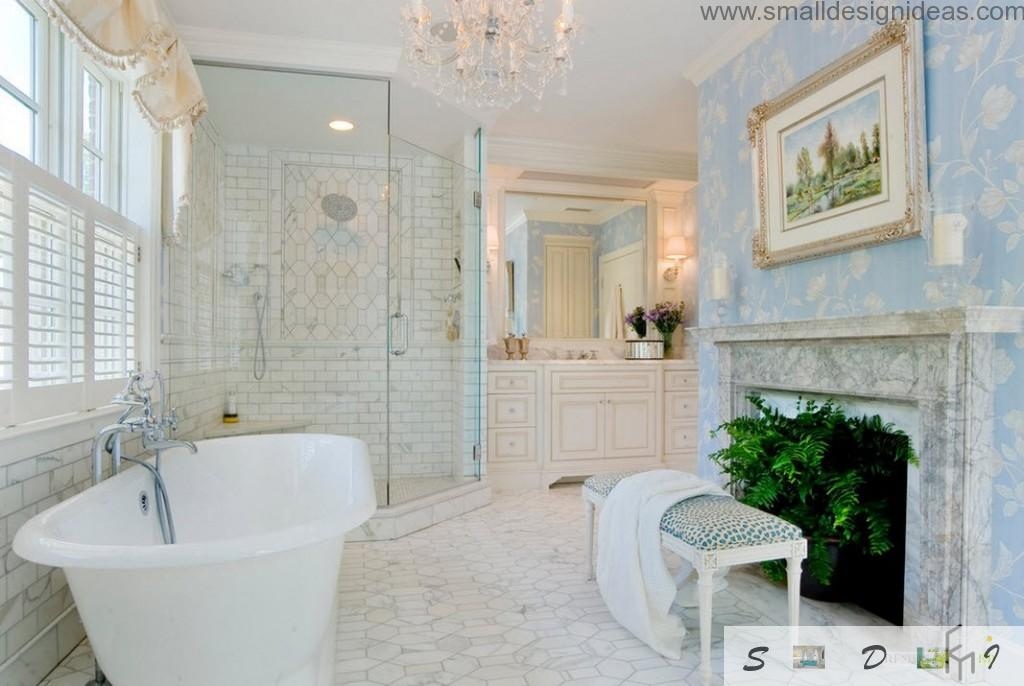 Glass shower cabin, oval bathtub and a fern near the bench diversify strict luxurious bathroom interior