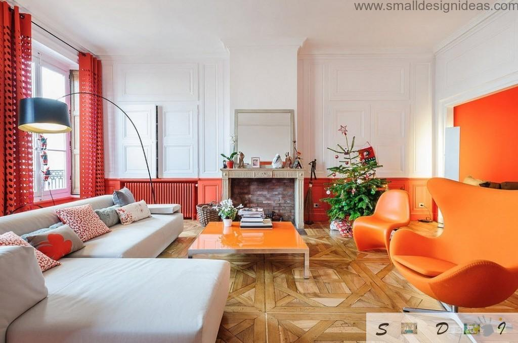 Orange and red combination design idea for the spacious English style living room