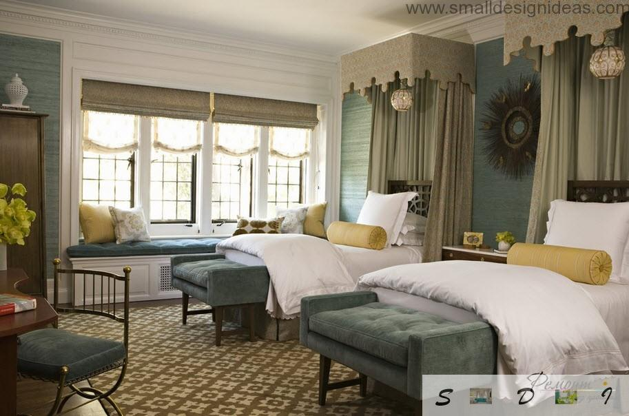 Stin upholstered beds in the classic designed bedroom in dark green grayish color