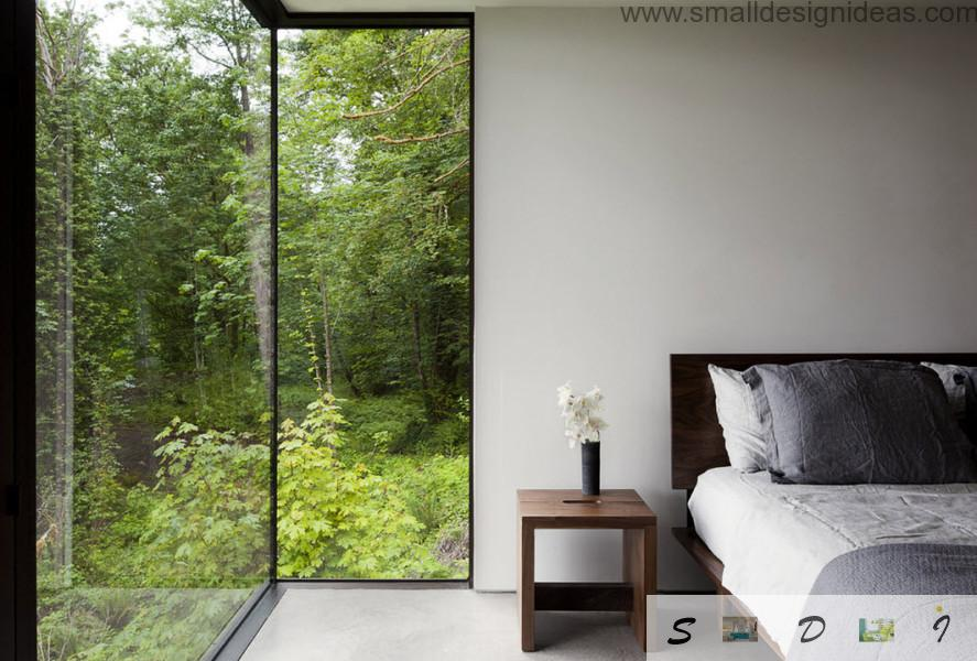 shopwindow and wooden furniture in the bedroom