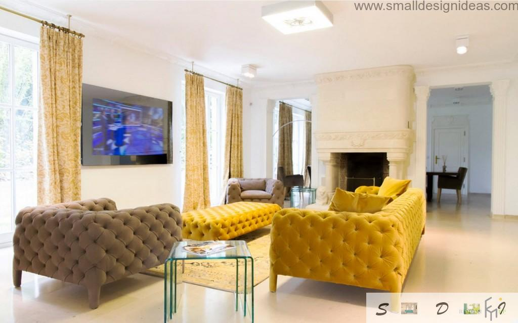 Yellow and brown dotted sofas as main parts of the modern discreet interior
