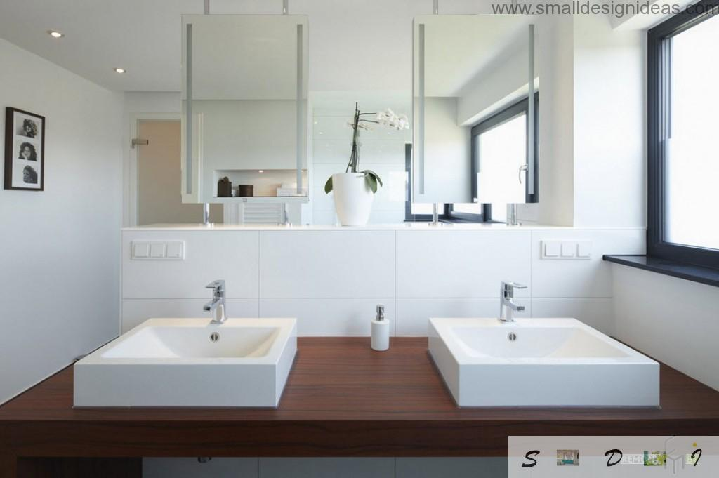 Progressive modern design in hi-tech style of the bathroom thanks to mirrors-partitions