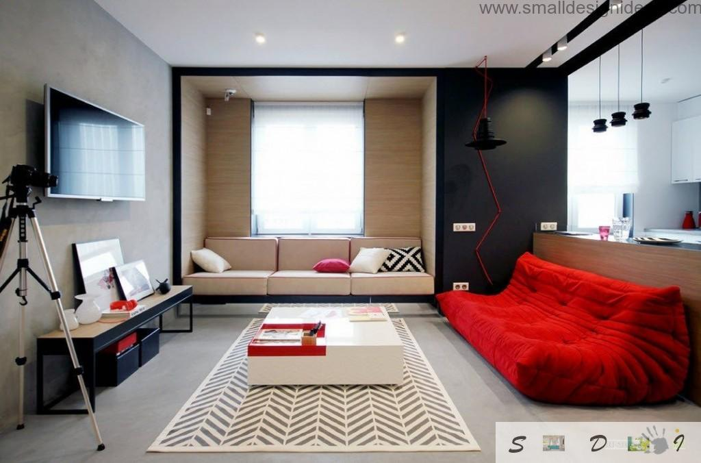 Red and black color blending in the austere design of the living room