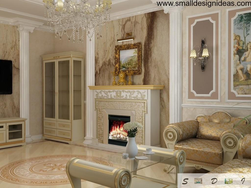 Fireplace in the creamy trimmed living room in Empire style
