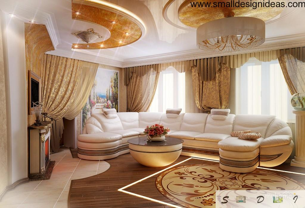 Empire styled spacious living room with modern and hi-tech notes