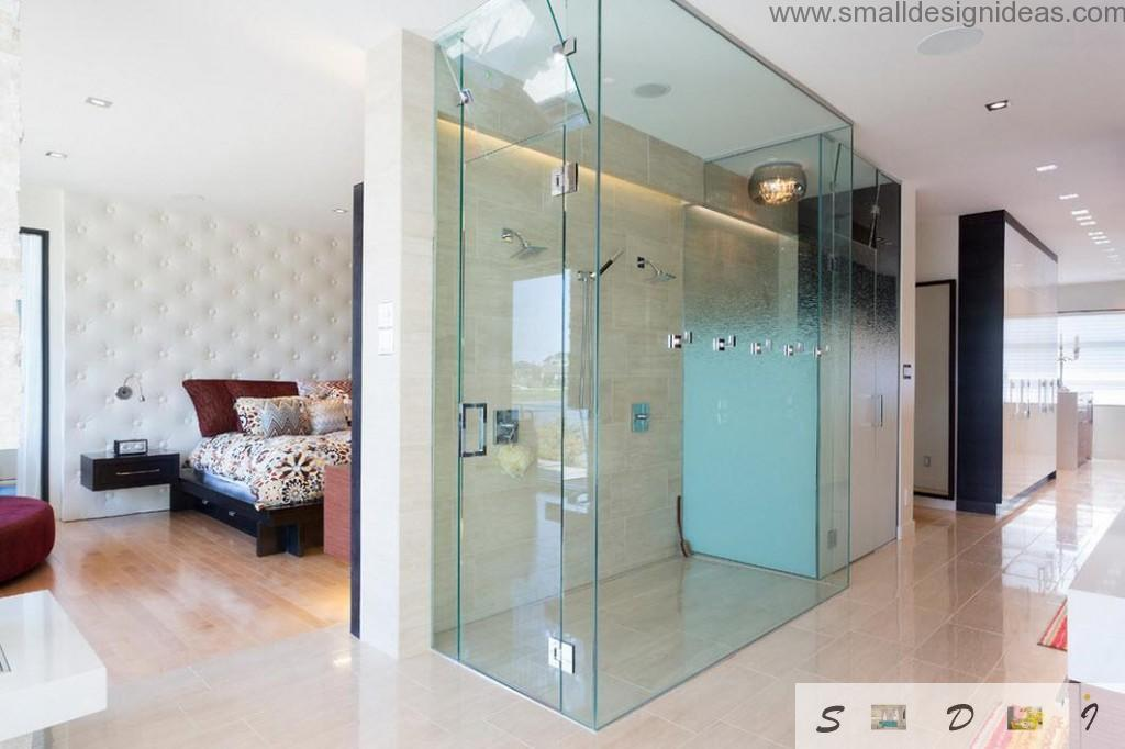 Glass construction for shower cabin in modern interior