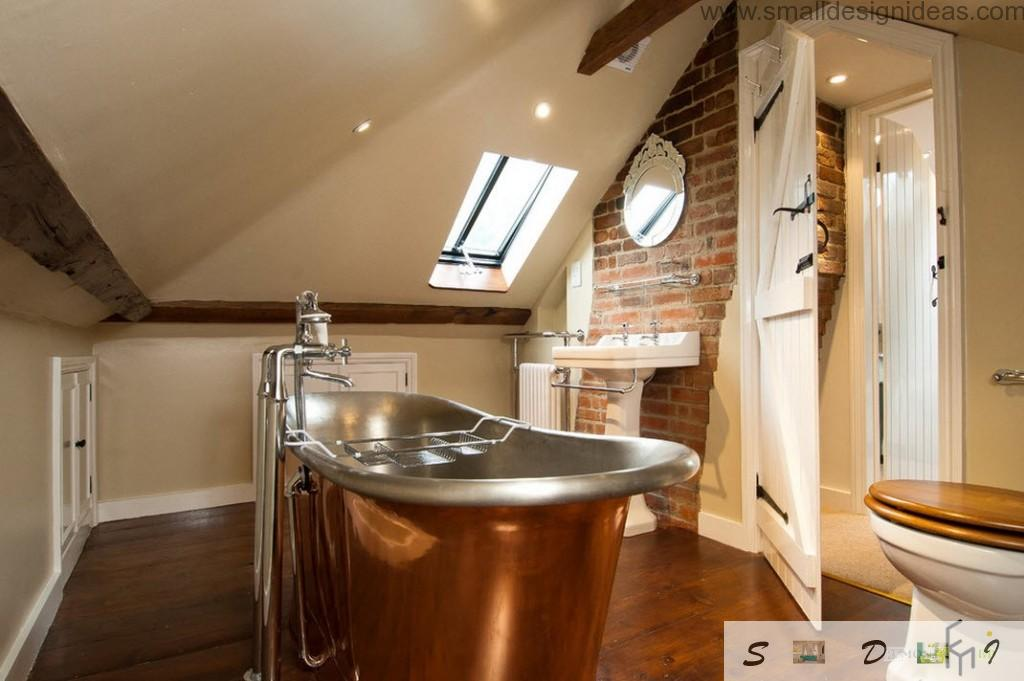 Unique attic bathroom with brown steel bathroom and brickwork as decoration