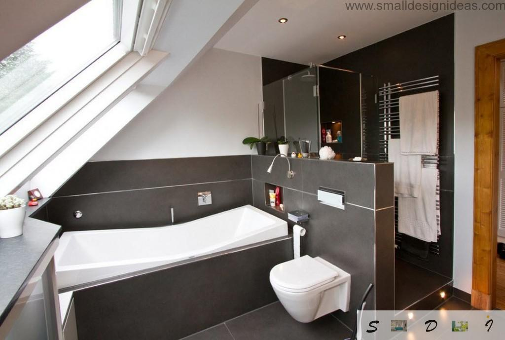 black surfaces with plastice panels and white bathtub and sink in the bathroom interior