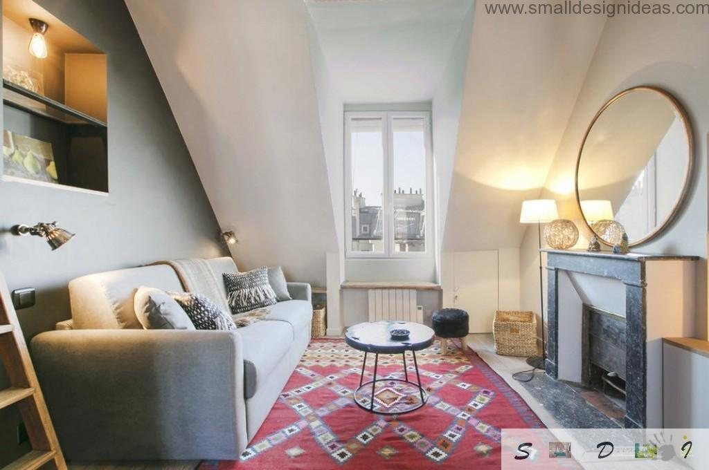 Modest living room with small amount of furniture