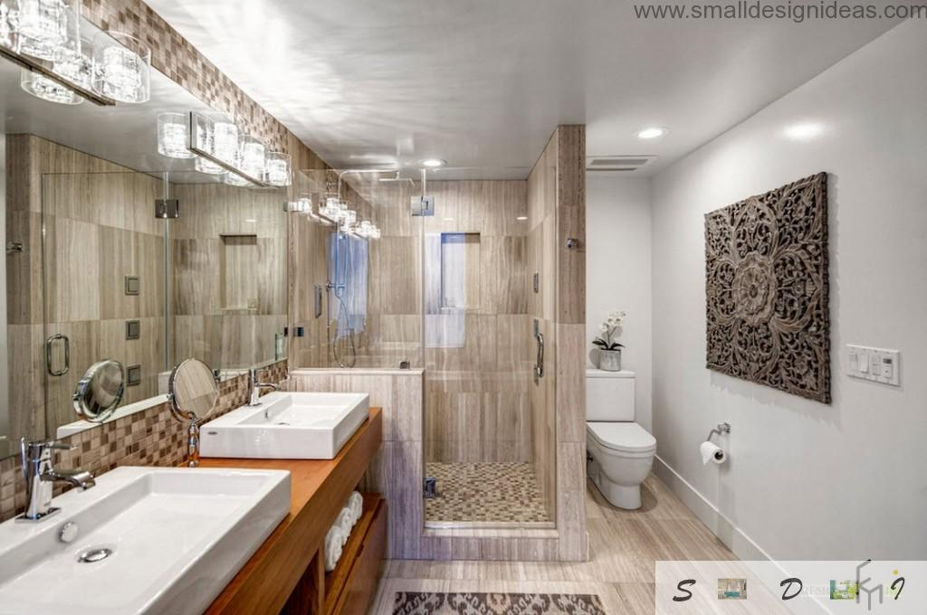 Wooden imitating interior and two sinks in the spacious bathroom