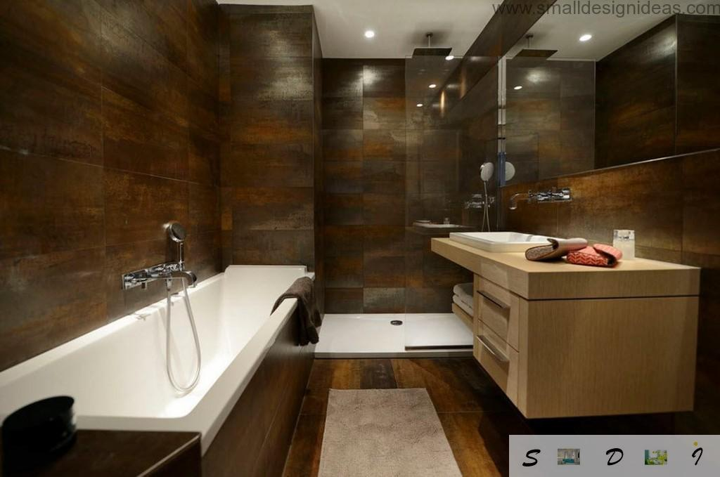 Porcelain tile in the dark brown bathroom interior