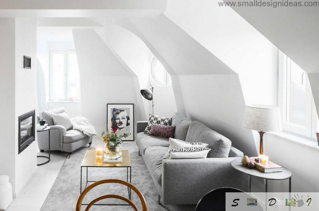 White interior design of the living room with contrastin black spots