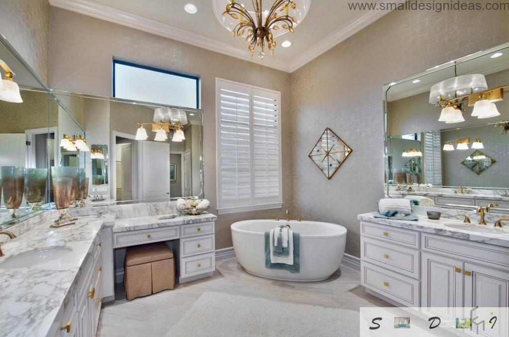 Unique sombination of forms and light in the classical designed bathroom in light tones