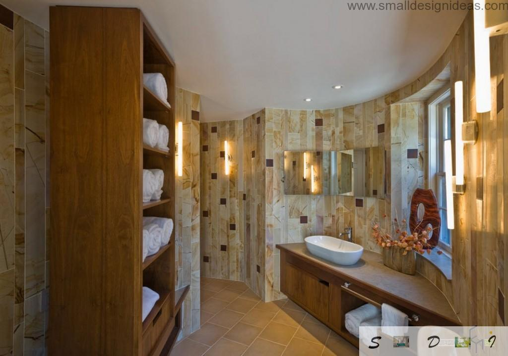 Modern Bathroom Design Ideas. Marble trimming of bending walls