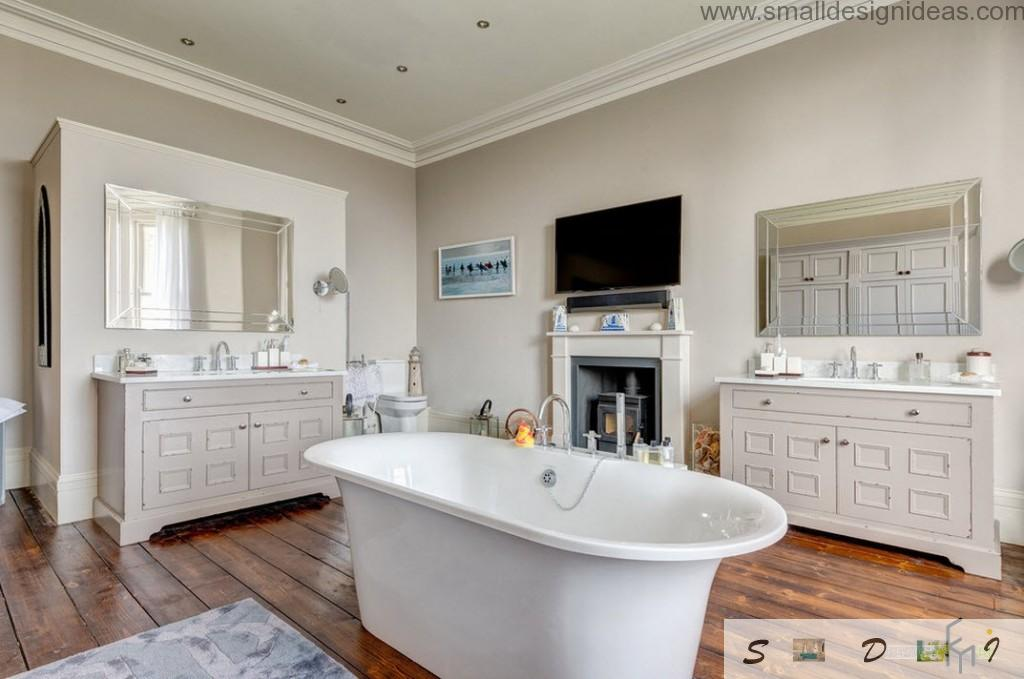 Wooden laminate of high quality in the classic bathroom with TV set