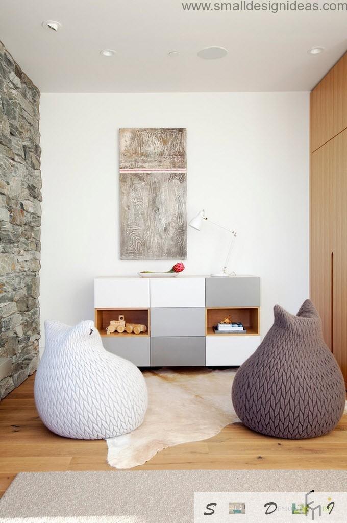 Two soft pear seats in the minimalistic living room interior