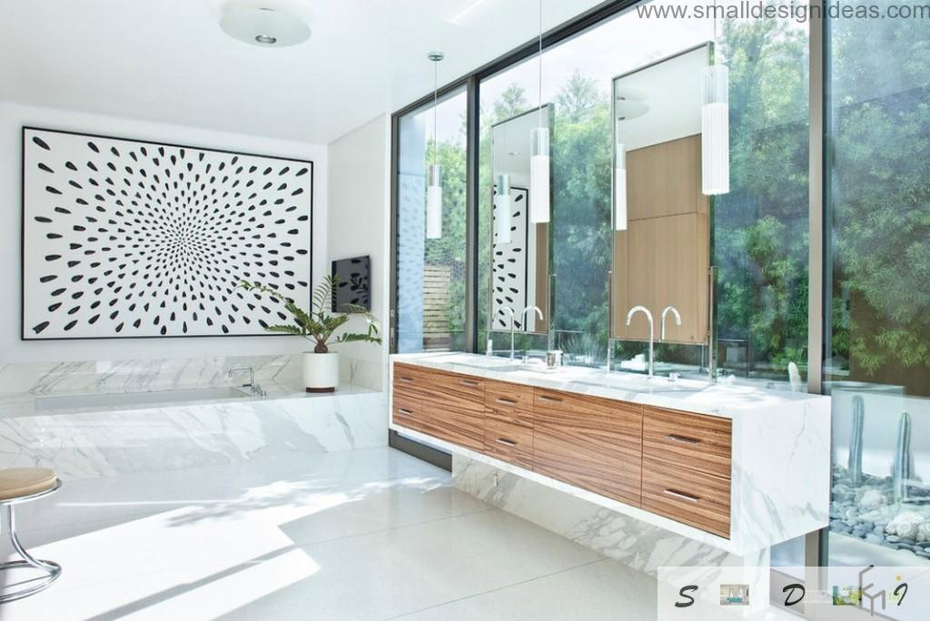 Modern Bathroom Design Ideas. Arch taps and monolith wooden furniture at the huge window in the bathroom