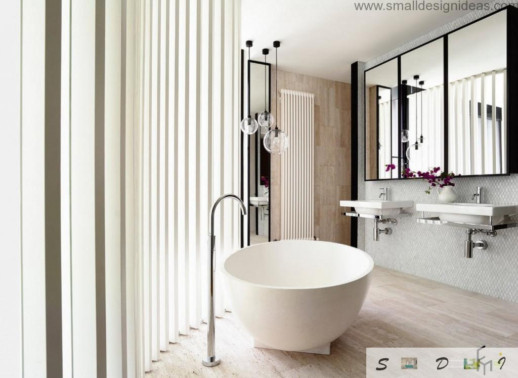 Unique contemporary bathtub form in the oval bathroom with vertical huge blinds
