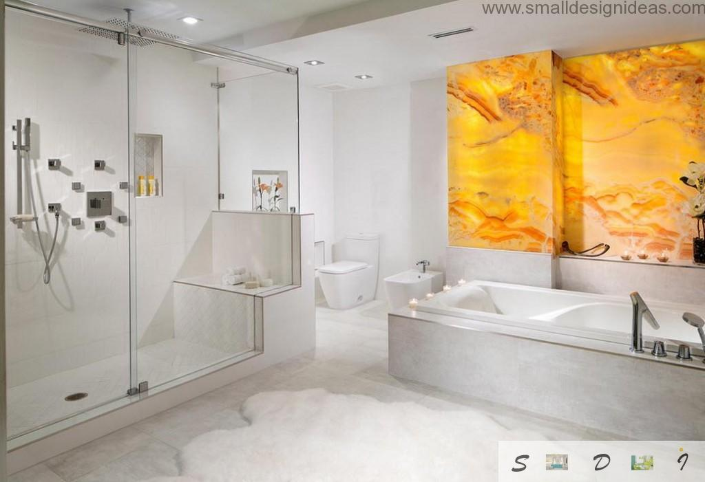 White marbled bathroom with smooth glance surfaces