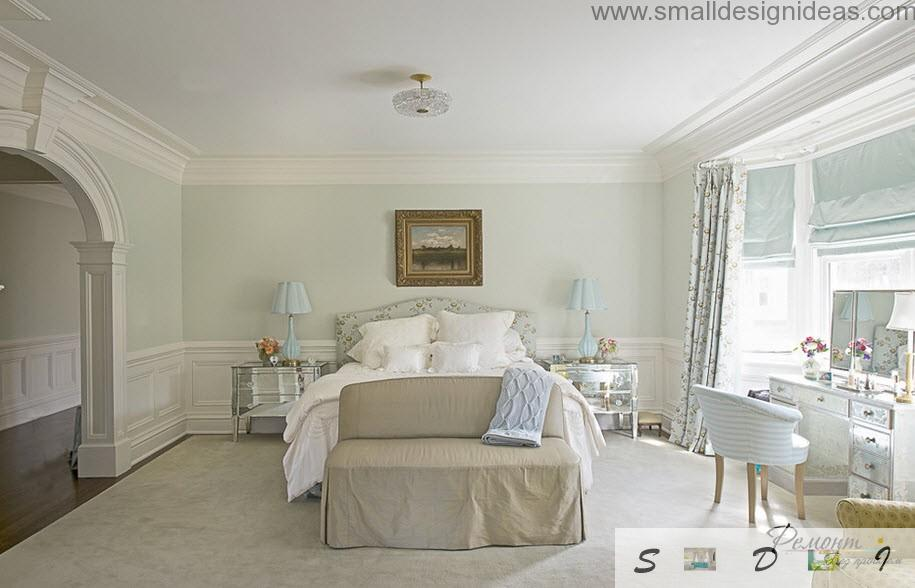 White creamy neat interior of the classic bedroom is timeless