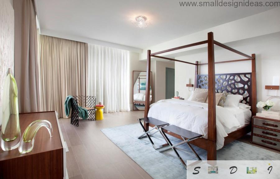 Modern Bedroom Decorating Ideas with beam wooden frame