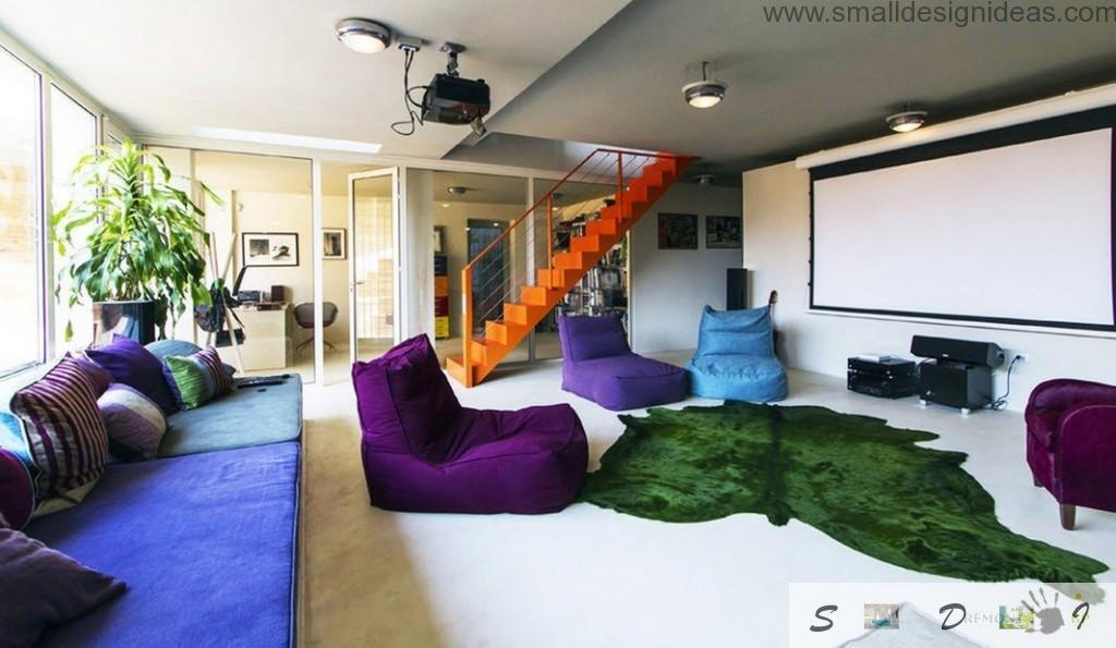 Frameless furniture in the colorful living room interior