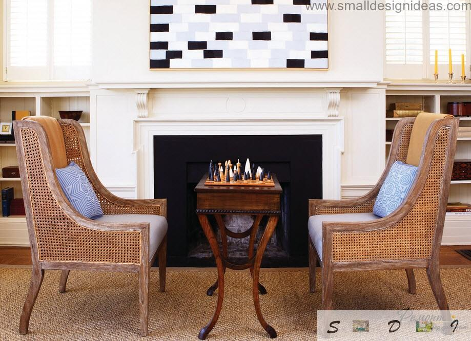 Small Living Room Ideas. 7 Optical Illusions. Fireplace and simple wooden surniture in the living room