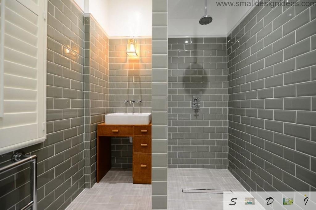 Metro tiled bathroom in grey utilitarian tones