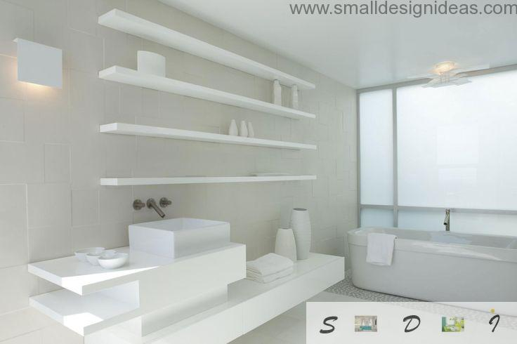 Absolutely white interior with design shade ideas to give a bathroom volume