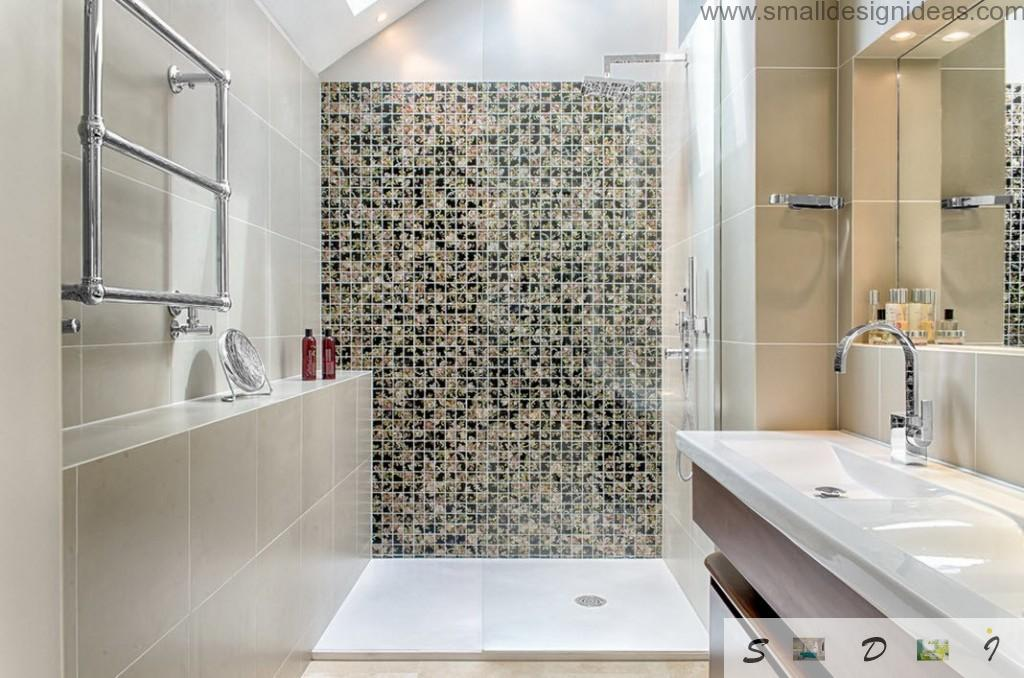 Black and white ornamentation in the bathroom with mosaic tiles