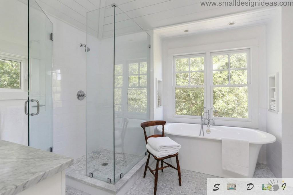 Wooden chair as the design idea to bring wooden accessory into the white bathroom interior