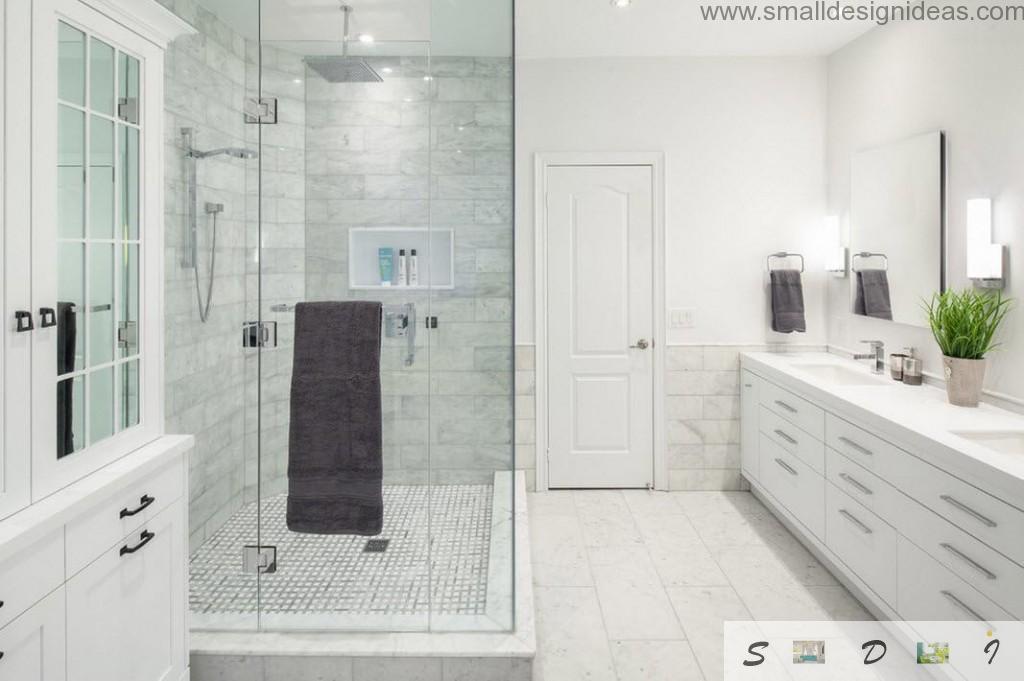 Marble tiles for finishing walls in bathroom