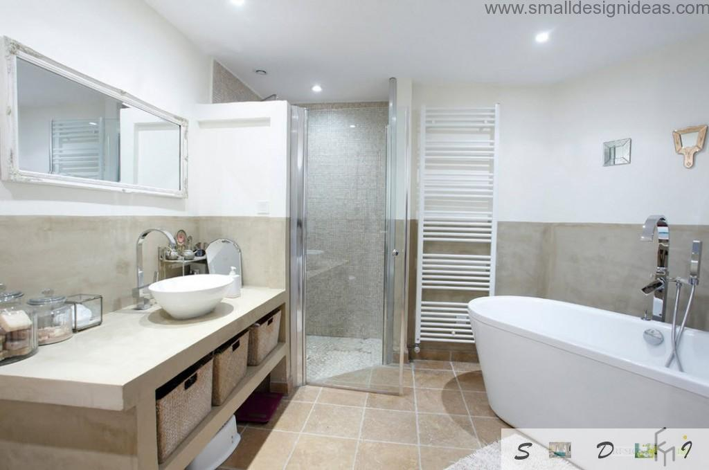 Modern ideas of bathroom decoration in two colors