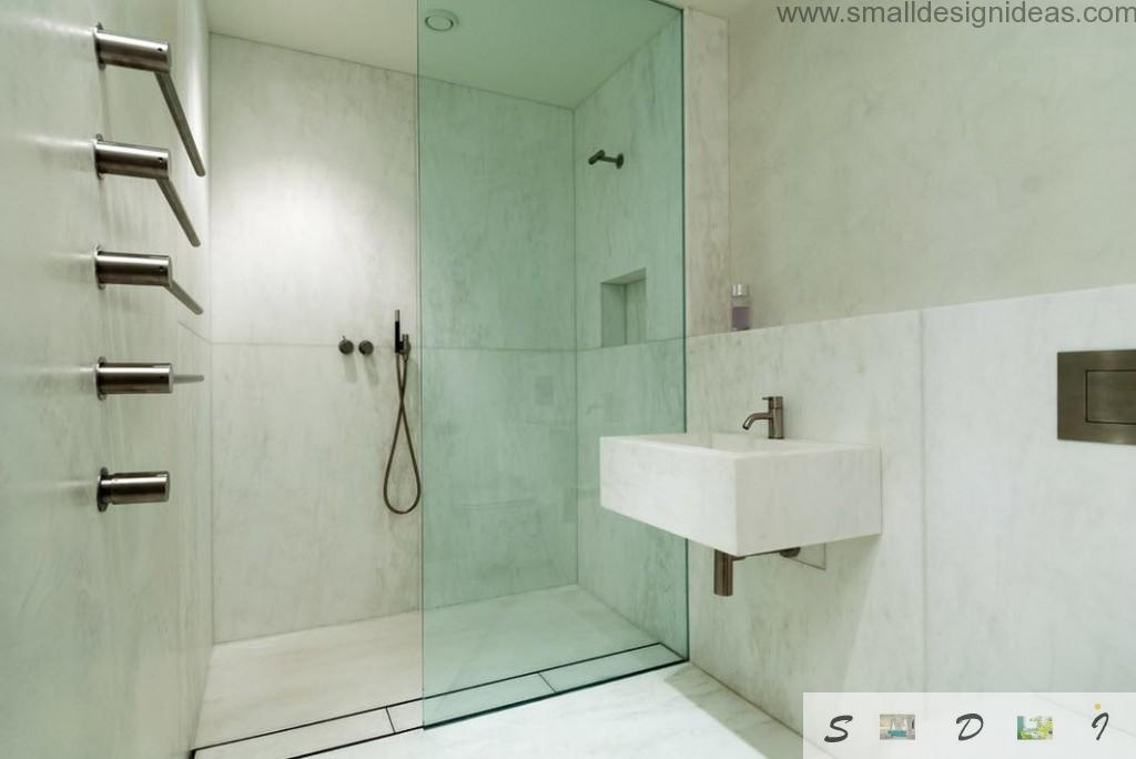 Marble for minimalistic bathroom interior finishing