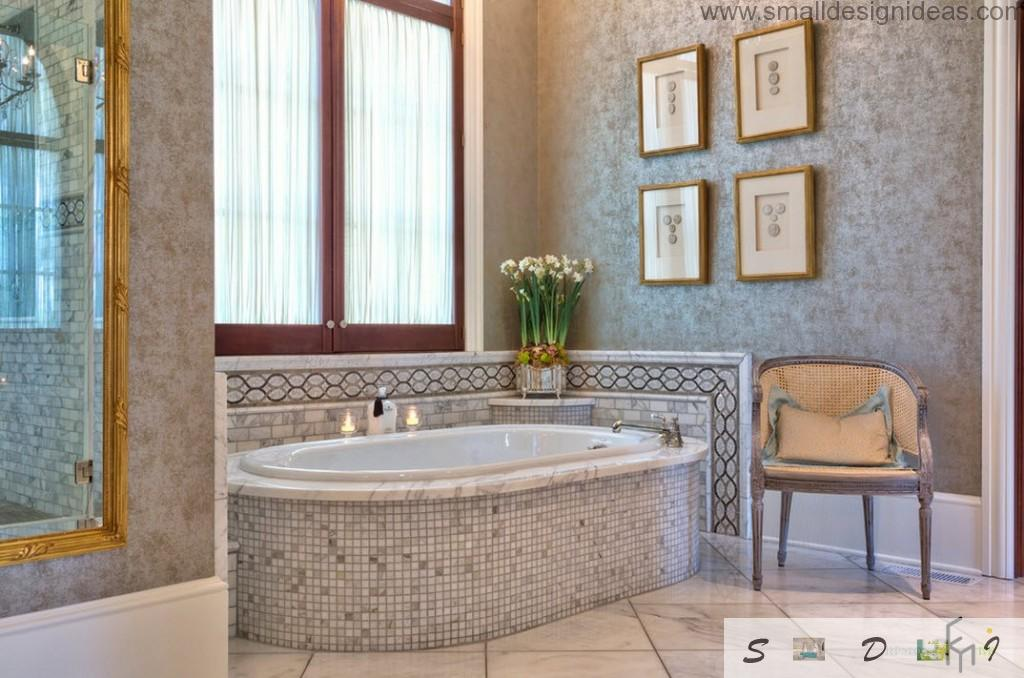 Mosaic tile as a classic interior decorative element in the bathroom