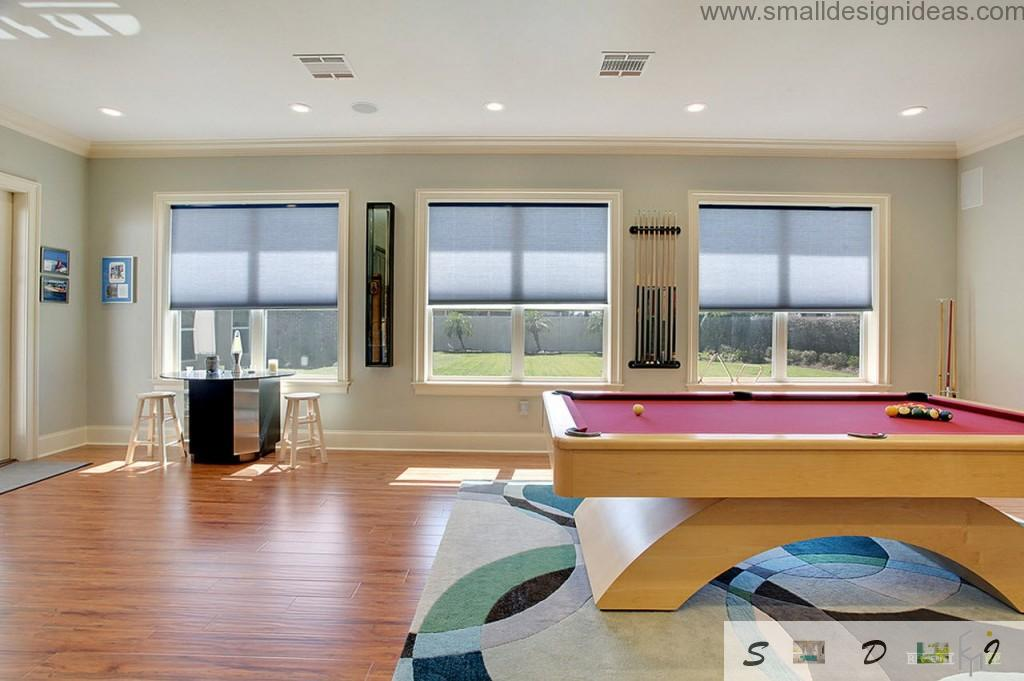 Billiard table and eclectic color mixing in the contemporary countryside house