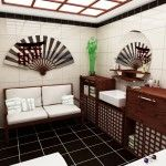 Unusual bathroom with armchair and Japanese fan, and with black floor tile as well