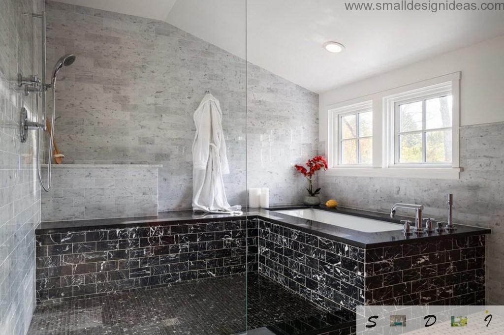 black metro tile of marble in the enjoyable noble European interior of bathroom
