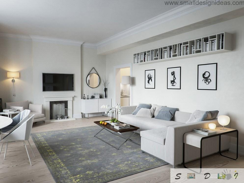 White living room interior with contrasting elements and pictures, and the upholstered angle sofa