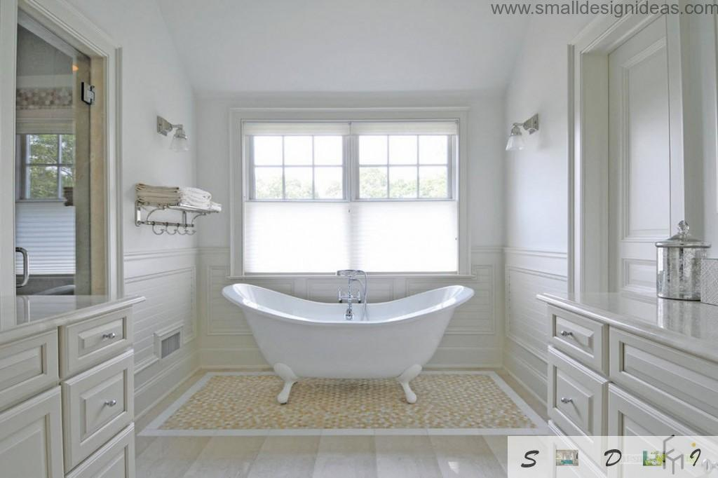 Snow white bathroom with a bathtub in a center