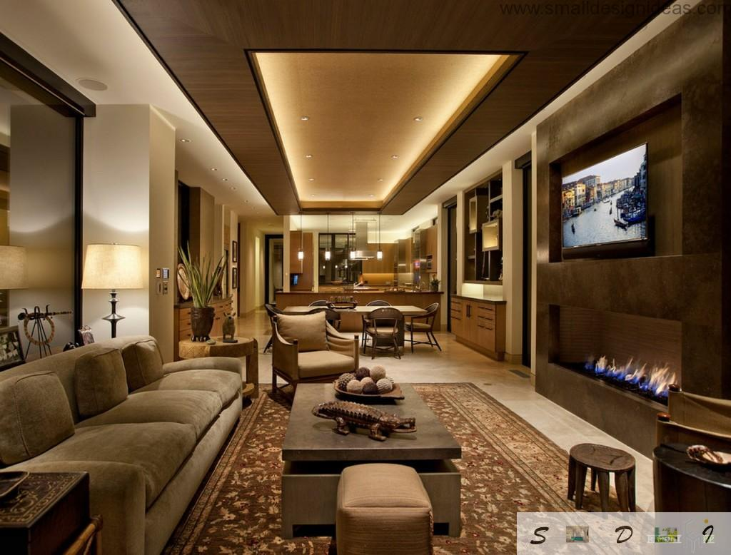 Gold theme in the luxurious ultra-modern living room full of chic elements