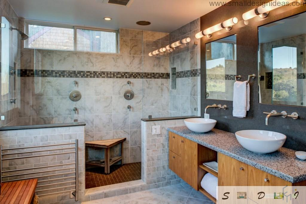 Wooden elements (drawer chest) and marble organically fits the bathroom best design projects