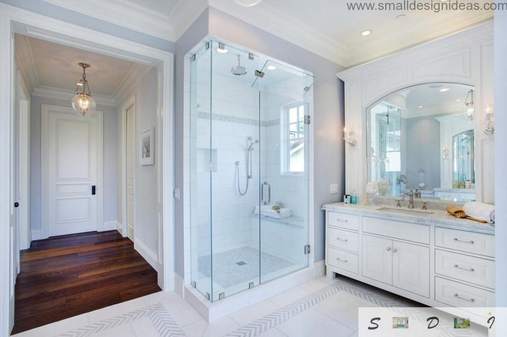 White glass cabine for shower in modern bathroom