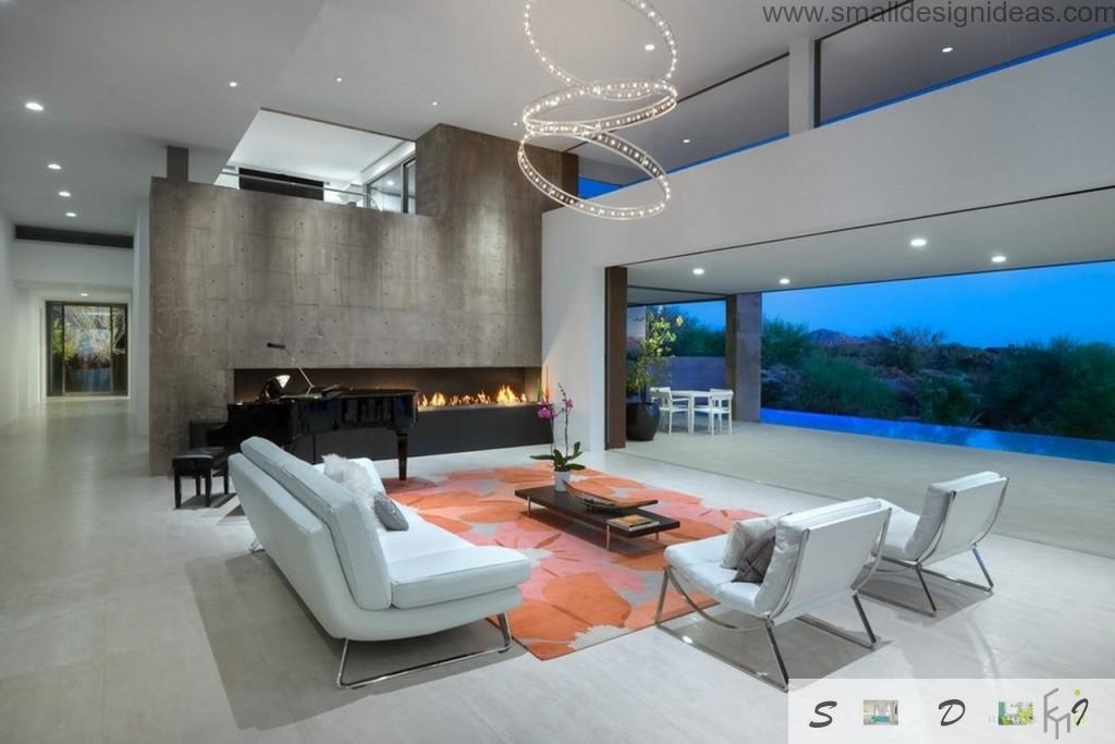 Villa living room interior in the modern minimalistic style and soft light colors