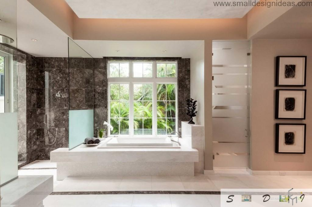 Bathroom studio design ideas with open nature behind huge windows of the private house