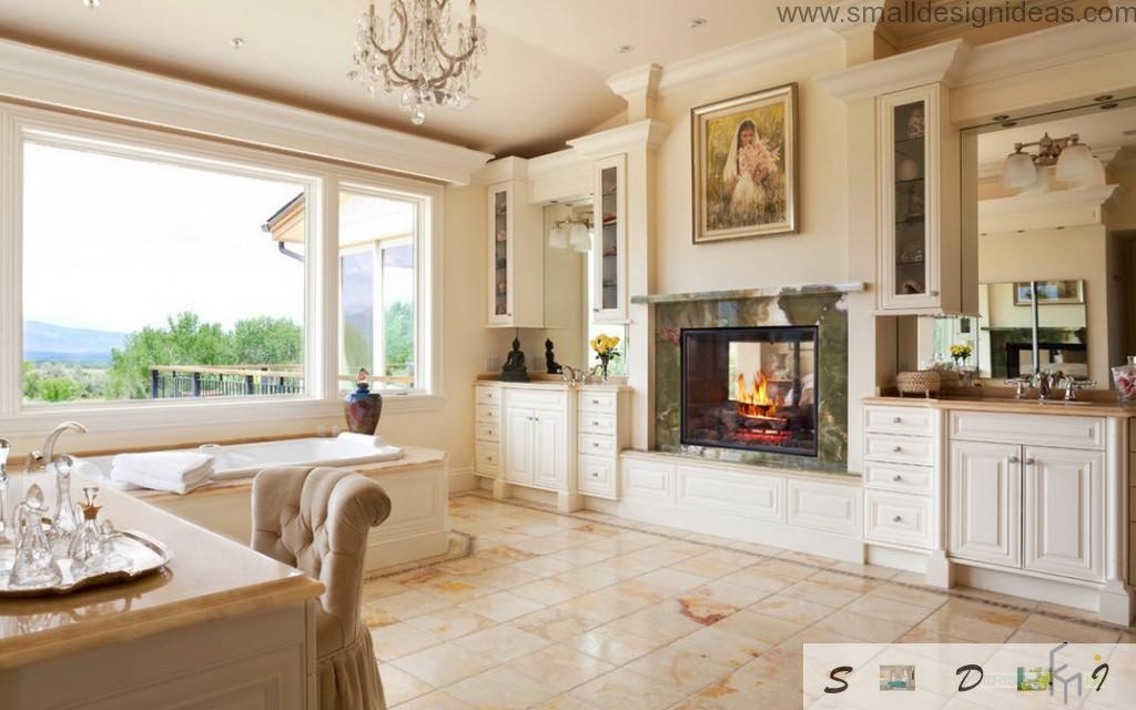 Fireplace in the white bathroom interior