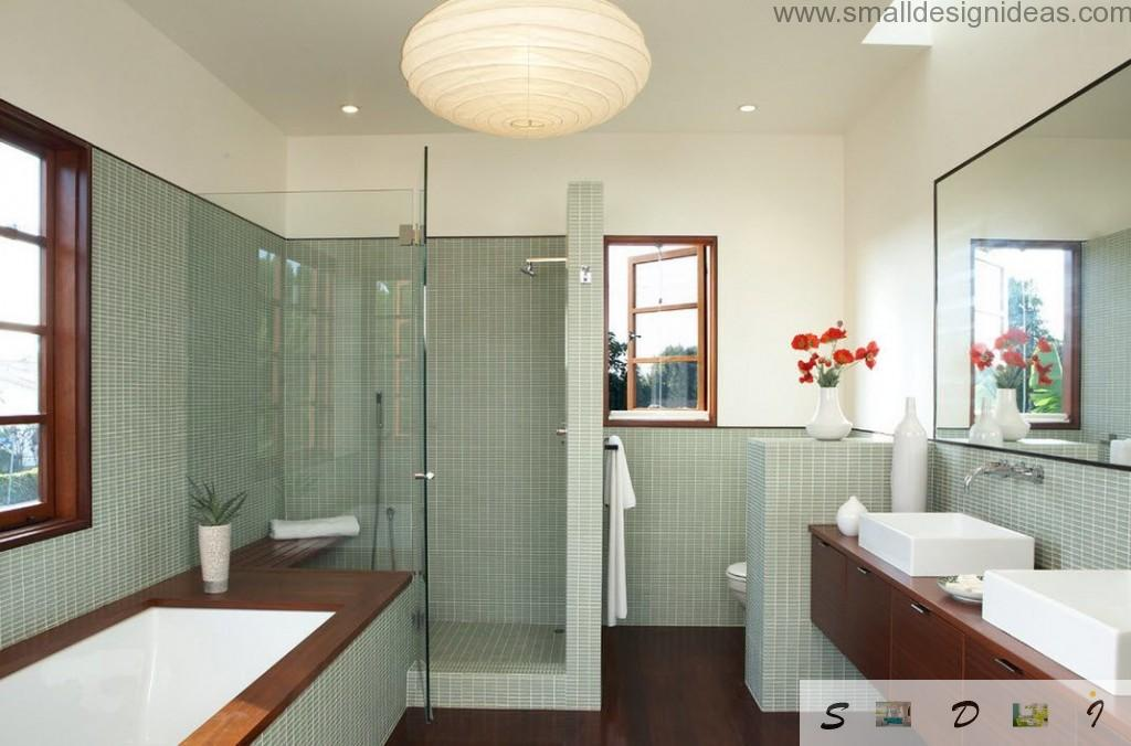 Light green and white combination in the minimalistic modern bathroom