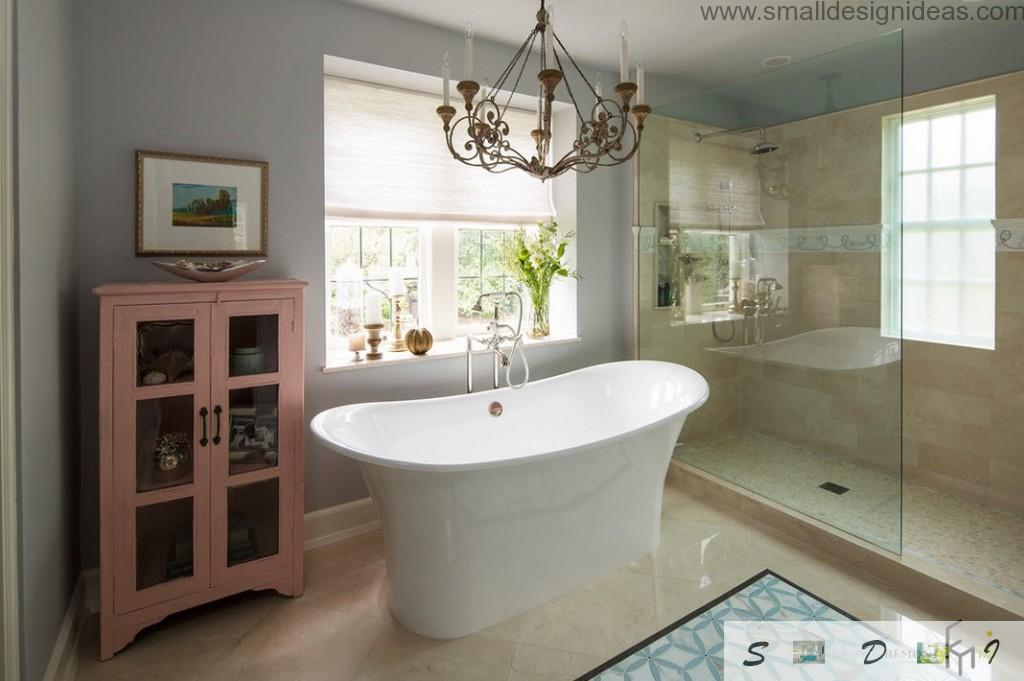 Top splaying bathtub in the classic interior of the bathroom