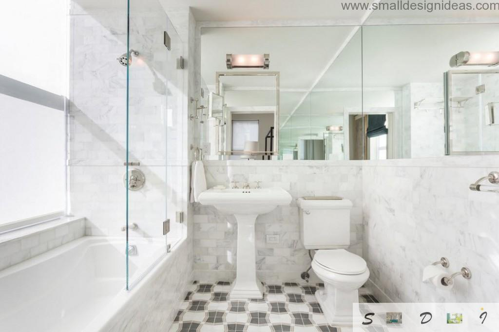 Marble surfaces in the modern bathroom with black and white chequered floor